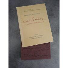 Mansfield Catherine Vertès Garden Party nouvelles Imprimerie Nationale Sauret nu