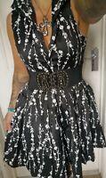 Voodoo vixen dress size 8 Goth punk rockabilly black swing tea dress BNWT