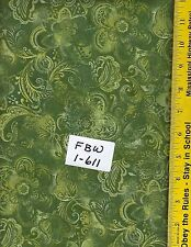"FBW 1-611, 108"" EXTRA WIDE QUILT BACKING BTY: FAUX BATIK LOOK, OLIVE GREEN"