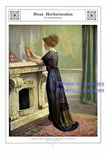 Neue Herbstmode XL Fotoabbildung 1910 Dame offener Kamin schwarzes Kleid Mode