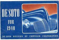 Nice 1940 De Soto Automobile 16 Page Color Brochure