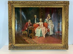Antique 19th Century European Likely French Interior Scene Oil Painting Signed