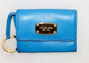 MICHAEL KORS 35T2GJSP2L Flap Coin Purse Key Case Blue Leather Gold Hdwr