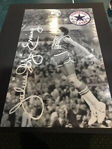 Julius Erving Dr J Signed Poster Converse 22x36 Autograph JSA 2 Inscriptions HOF