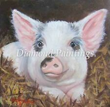 Cute Grey and White Pig Square Full Drill Diamond Painting Kit