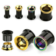 Pair Double Flare Bi Color Steel Ear Flesh Tunnel Screw Fit Gauges Plugs 8G-5/8""