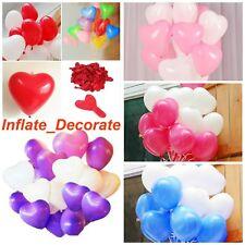 "JH12"" Red White Heart Shape Balloons Valentines Love Romantic Heavy Duty Baloons"
