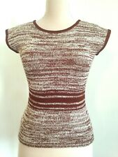 Women's Anna Sui Knit Sweater Top Short Cap Sleeve Brown/White S/M