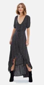 Auguste The Label Delilah Maxi Ruffle Black Polka Dot Dress Size 10