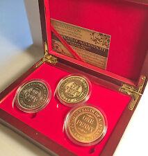 "2015 Set Of 3 x 1OZ 1930 Penny ""85 Year Ann Coins"" In Wood Display Box C.O.A."
