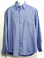 Sette Ponti Men's Lake Blue Pinstripe 100% Cotton Button Front Shirt - Size L