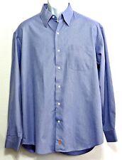 Sette Ponti Men's Lake Blue Pinstripe 100% Cotton Button Front Shirt - Size L