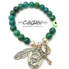 Evil Eye Bracelet Pray For Us Saint George Believe Cross Angel Feather Charms