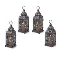 4 Romantic Moroccan Style Tower Votive Pillar Back Iron Candle Lanterns NEW
