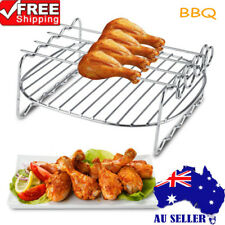 Stainless Steel BBQ Rack Double Layer Skewers Baking Tray Rack For Air Fryer AU