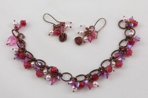 Handcrafted Charm Bracelet and Earrings Set, Swarovski crystals & pearls