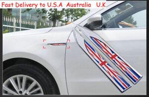 3D Metal Car Door Side Blade Sticker Red Union Jack UK Flag  Emblem Badge Decal