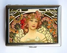 Art Nouveau Goddess Cigarette Case id case Wallet Business Card Holder flowers