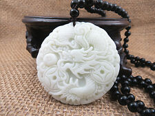 100% pure hand-carved beautiful dragon Lantian white jade pendants