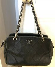 VINTAGE CHANEL IN PELLE NERA CUCITURA Bowler Tote