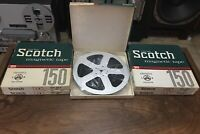 "5- Scotch 150 LP Aluminum Metal 7"" Reel to Reel Tape 1/4"" Used - Hard to Find"
