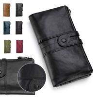 Retro Leather Women Wallet Mobile Phone Clutch Rfid Anti-theft Long Wallet Purse
