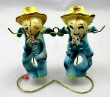 Scarecrow Salt Pepper Shakers Japan Hand Painted Rack Tags Vintage Ceramic