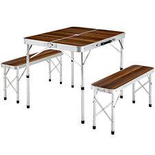 Ensemble table pliante valise avec 2 bancs camping aluminium pique nique jardin