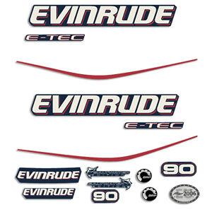 Evinrude 90hp Blue Cowl E-Tec Outboard Decals- 2004 2005 2006 2007 2008 Stickers