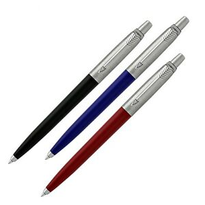 PARKER JOTTER CHROME TRIM BALL PEN SET - BLACK + BLUE + RED BARREL, Blue Ink
