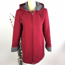 Aeros by Kristen Blake Women Size S Red Fleece Lined Quilted Trench Coat