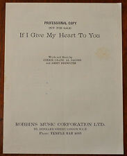 If I Give My Heart To You by Jamie crane, Al Jacobs & Jimmy Brewster – Pub.1954
