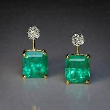 Vintage 4.60 Ct Emerald & Diamond 18K Yellow Gold Over Solitaire Stud Earrings