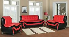 Contemporary Bonded Leather 3-Piece Aldo Modern Sofa Set - Red/black Chair