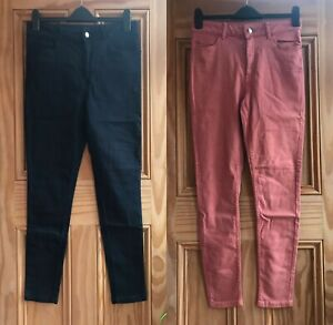 Brand New M&S Navy Blue Peach Pink Super Skinny Jeans Trousers Size 8 - 22