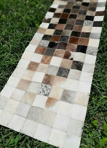 COWHIDE TABLE RUNNER PATCHWORK CARPET AREA RUG LEATHER - BRINDLE WHITE