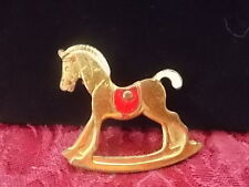 Vintage Rocking Horse Pin/Brooch Brass Handpainted 2 inches