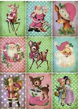 Cute Colourful Vintage/Retro Christmas Card Toppers/Scrapbooking/Crafting