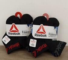 Reebok 12 Pack Boy's Quarter Cut Size Small Performance Socks Black Multicolor