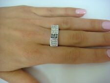 14K WHITE GOLD BLACK AND WHITE DIAMONDS UNIQUE FREE FORM DESIGN RING SIZE 7