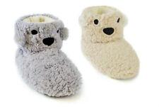 Ladies Girls Fleece Bear Face Boot Slippers Sizes 3-8 Koala Seal Polar Ears