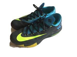 Nike Mens KD VI Away Black Volt Vivid Blue Basketball Shoes 599424-010 Size 9.5