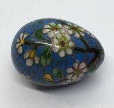 """Collectible Floral Cloisonne Egg 1.5"""" Blue"""