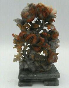 Fantastic Asian Carved Soapstone Sculpture Birds Tri-Color Intricate Floral