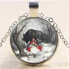 Little Red Riding Hood Cabochon Glass Tibet Silver Chain Pendant  Necklace
