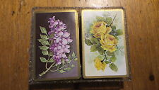 Vintage DECK OF CARDS PAIR Purple Floral, Yellow Roses