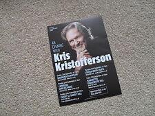 KRIS KRISTOFFERSON - lovely colour tour flyer (Mint)