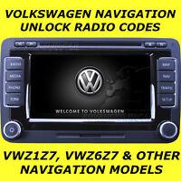 VW VOLKSWAGEN RADIO CODE UNLOCK FOR NAVIGATION MODELS RNS & MFD VWZ6Z7 & VWZ1Z7