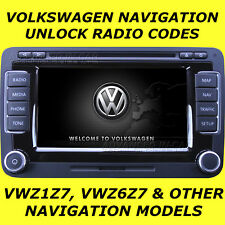 VW VOLKSWAGEN RADIO CODE UNLOCK FOR NAVIGATION MODELS RNS & MFD VWZ6Z7 & VWZ1Z7