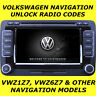 VW VOLKSWAGEN RADIO CODE UNLOCK PIN FOR NAVIGATION RNS & MFD VWZ6Z7 & VWZ1Z7